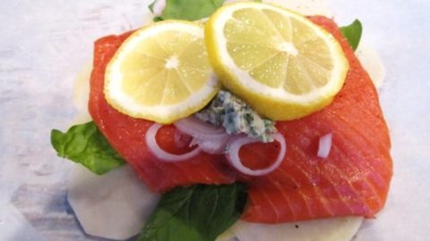 Salmon en papillote just bfore it is wrapped up and baked