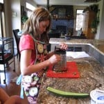 Grating the cucumber