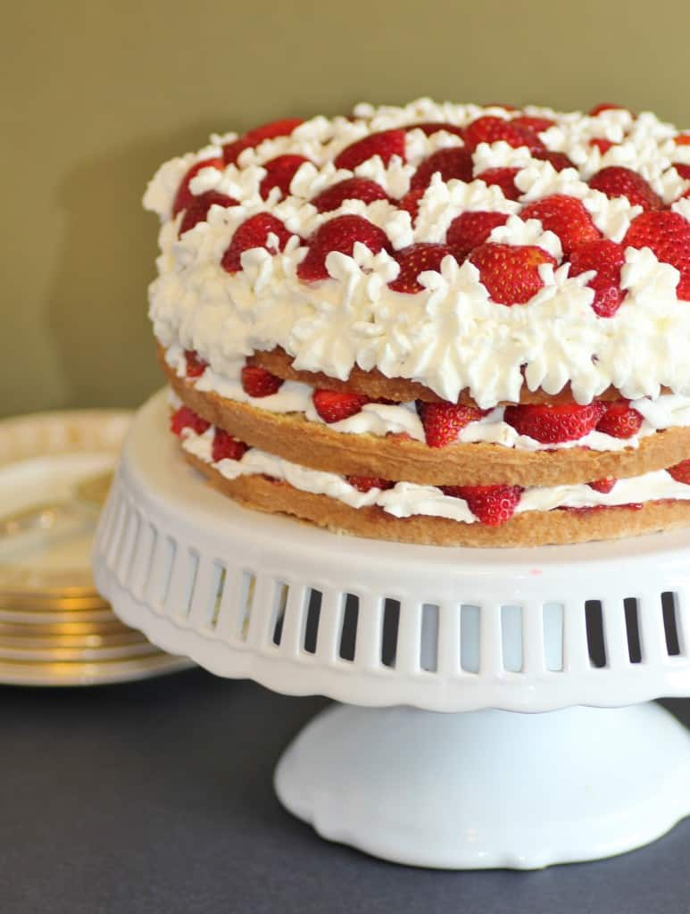 Gateau in a cage, Strawberry Cake on a white cake stand