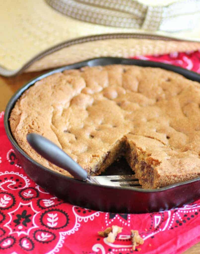 Skillet Cookie in a cast iron pan