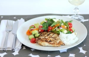Grilled Lemon Pepper Chicken with a Yogurt Dill Sauce