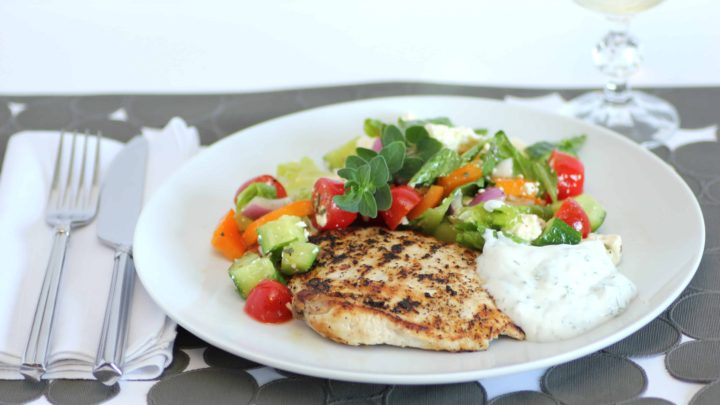 Grilled Lemon Pepper Chicken with a Yogurt Dill Sauce and a Greek Salad/Back to School Meals #SundaySupper