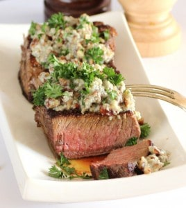 Beef Tenderloin with Stilton Pecan Butter