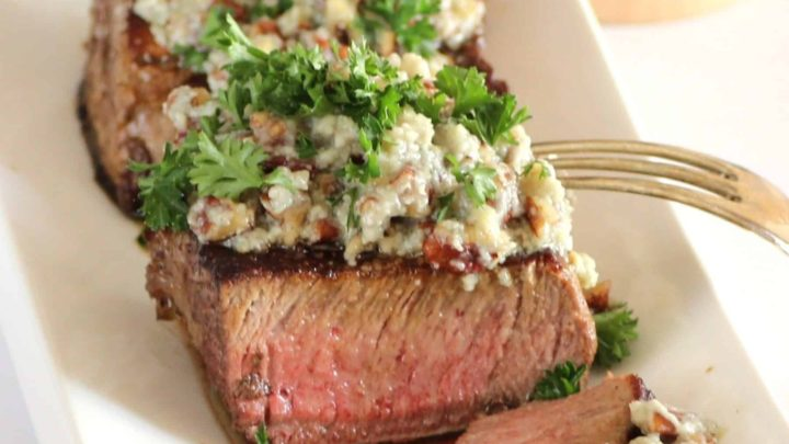 Beef Tenderloin with Stilton Pecan Butter for Dishes in 5 Ingredients or less #SundaySupper