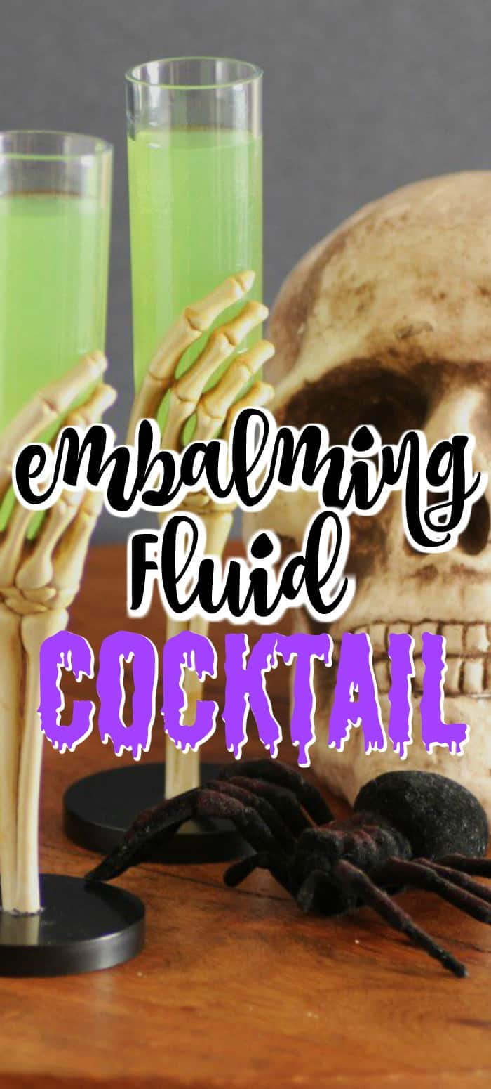 This Embalming Fluid Cocktail is delicious tasting and so fun with it's funny name to get your guests in a hauntingly good mood!! #Halloween #cocktail #embalmingfluid