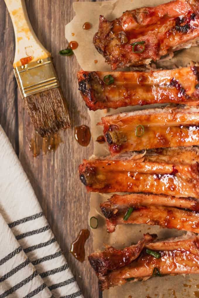 BBQ ribs slathered in grill glaze