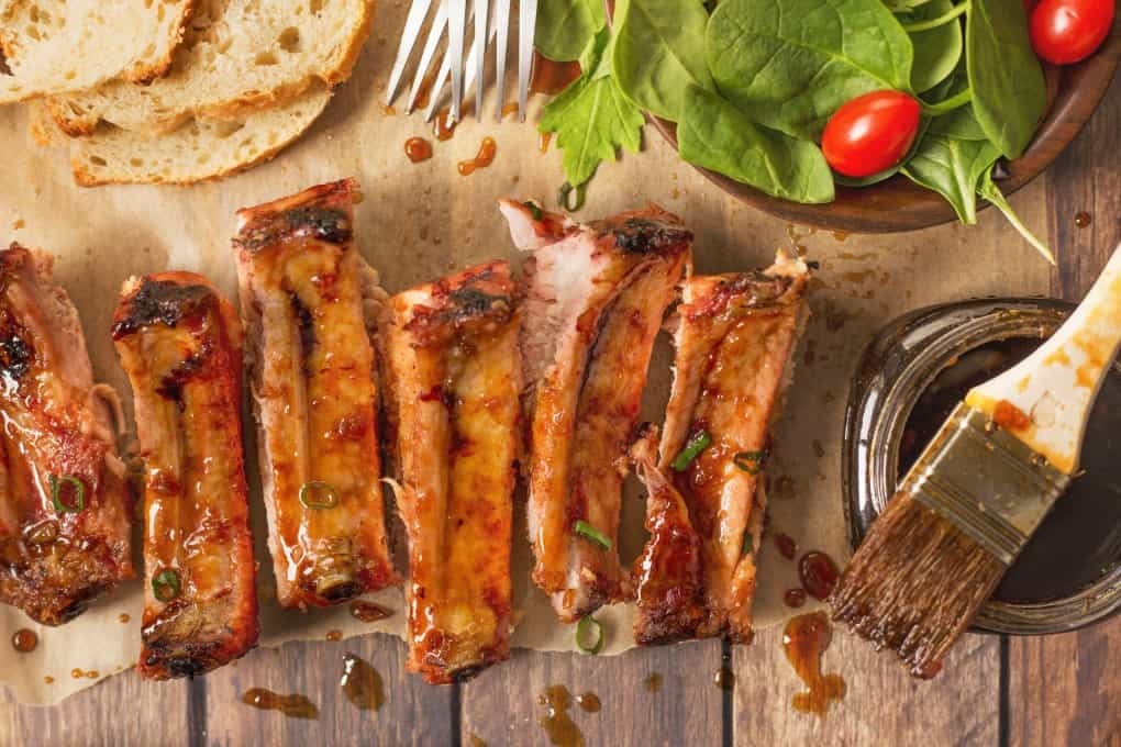Overhead shot of ribs cut up with grill glaze