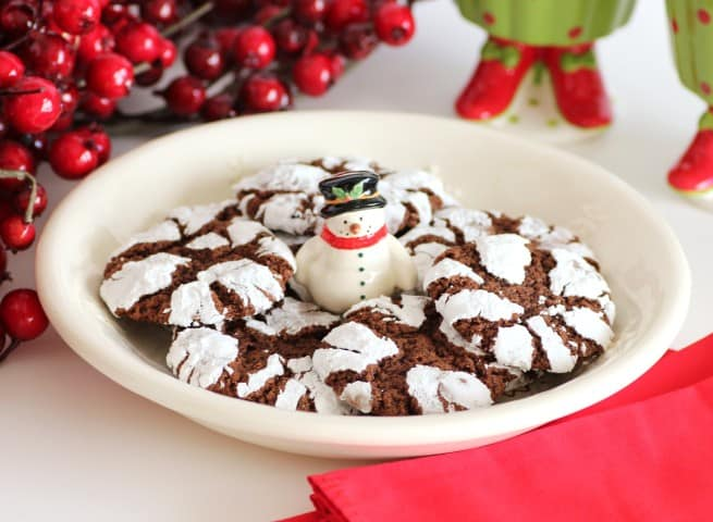 Chocolate Crinkles cookies, on a white snowman serving platter