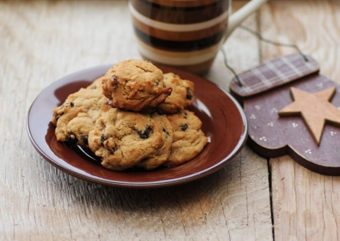 Holly Hermits cookies stacked on a small brown plate