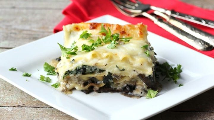 Mushroom, Spinach and Four Cheese Lasagna