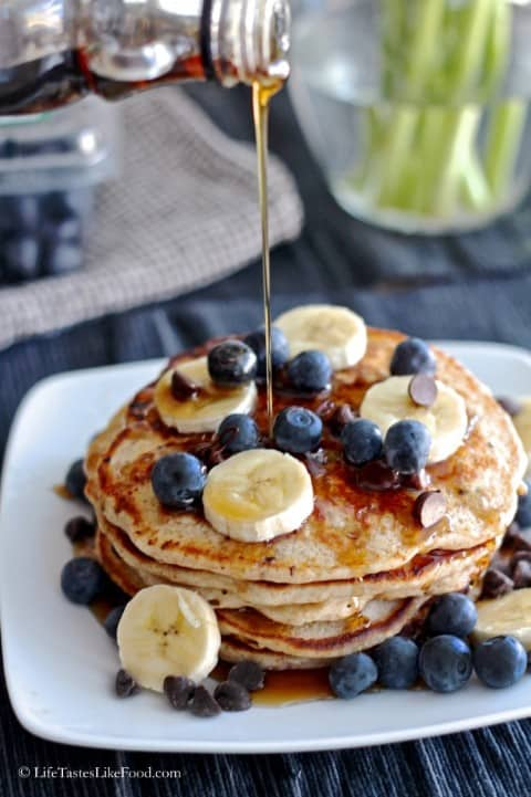 Banaa Chocoalte Chip Pancakes with Fresh Fruit
