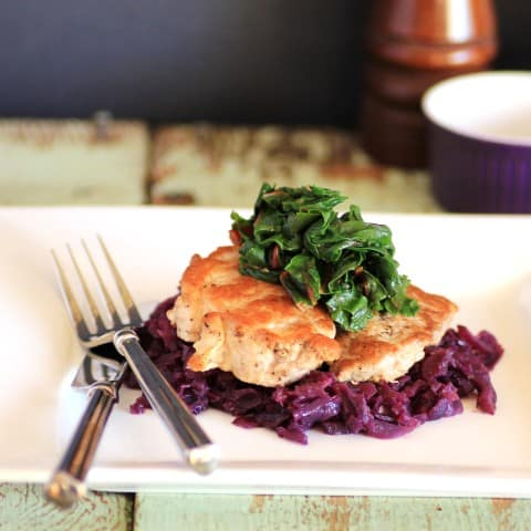 Pork Tenderloin with Braised Cabbage and Swiss Chard