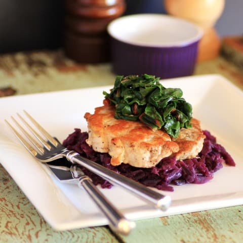 Pork Tenderloin with Braised Cabbage and Swiss Chard 2