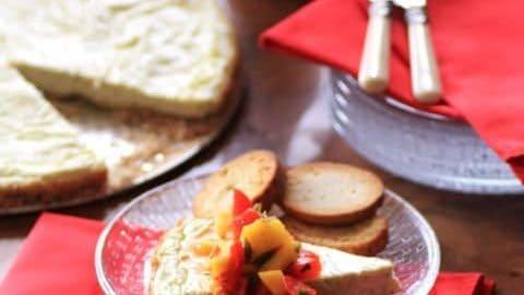 Chevre Torte with Mango and Sweet Pepper Salsa