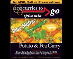Potato Pea Curry spice mix package from Ace curry to go