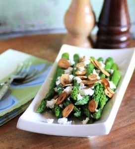 Asparagus with Garlic Chips and Goat Cheese