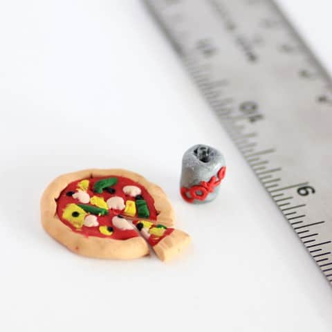 Mini pizza with a can of coke made form oven bake clay