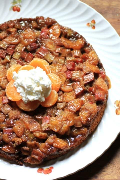 Rhubarb Mandarin Skillet Upside Down Cake