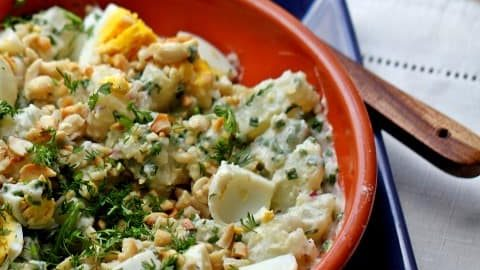 Potato, Egg and Peanut Salad by Cooking in Westchester