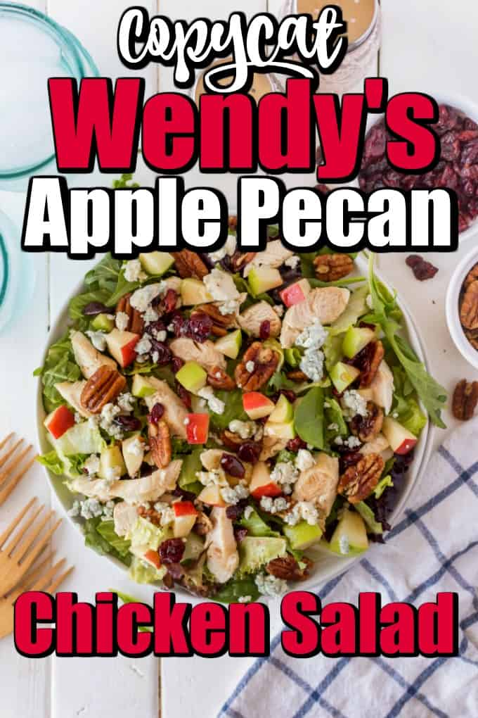 This Copycat Wendy's Apple Pecan Chicken Salad is easy to make at home for one person or a whole family. #copycat #Wendyssalad #chickensalad