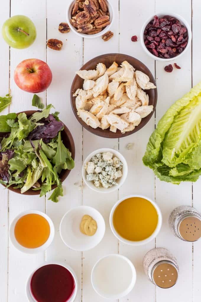Ingredients for Copycat Wendy's Apple Pecan Chicken Salad