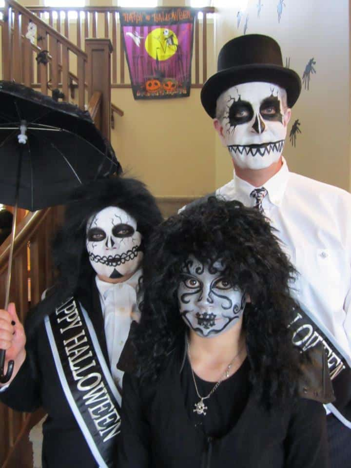 Halloween Family 2011 dressed up as scary New Orleans funeral directors
