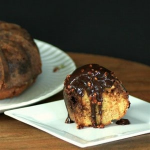 Snickers Bundt with Chocolate Caramel Peanut Sauce for #BundtaMonth