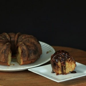 Snickers Bundt with Chocolate Caramel Peanut Sauce (Small)