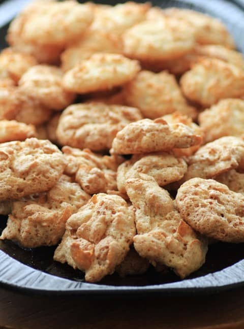 Cornflake Macaroons cookies on a black tray