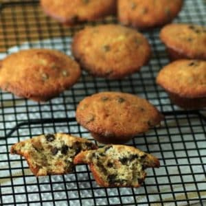 Mini Banana Chocolate Chip Muffins on a wire cooling rack