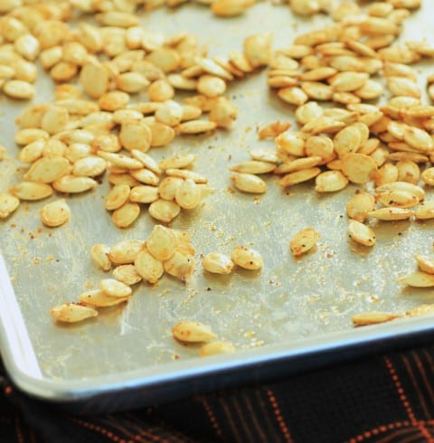 Roasted Pumpkin Seeds on a silver baking tray