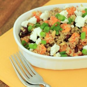 Sweet potato and quinoa salad on a oval white serving dish