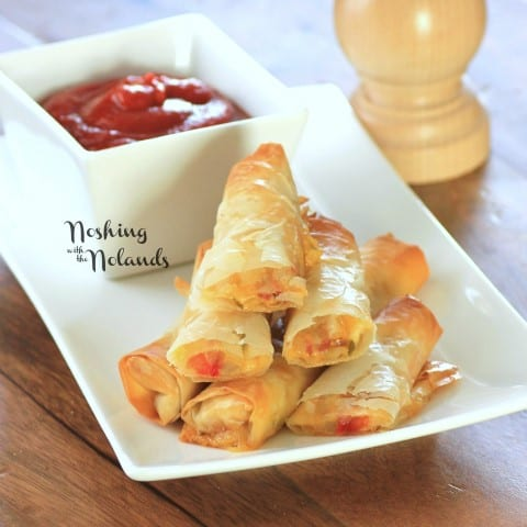 Italian Spring Rolls stacked on a white plate with a dipping sauce in a white bowl