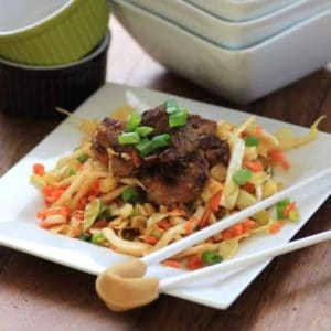 Korean Pork Tenderloin Medallions over Asian Slaw with chop sticks