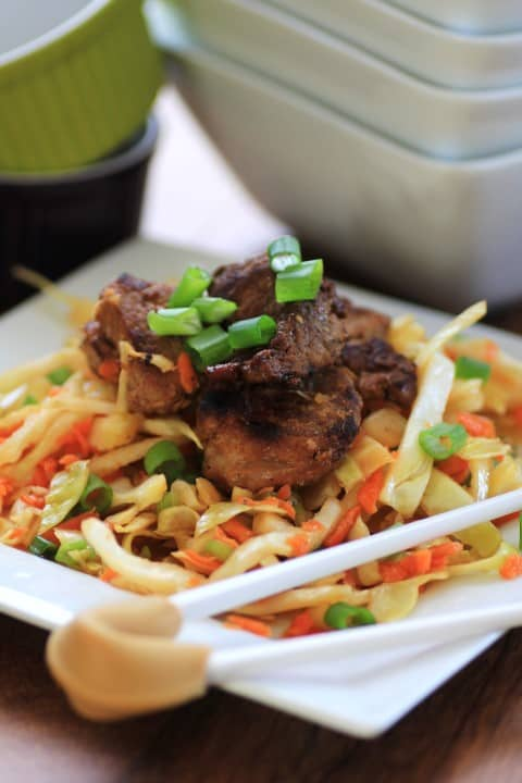 Korean Pork Tenderloin Medallions with Asian Slaw by Noshing With The Nolands