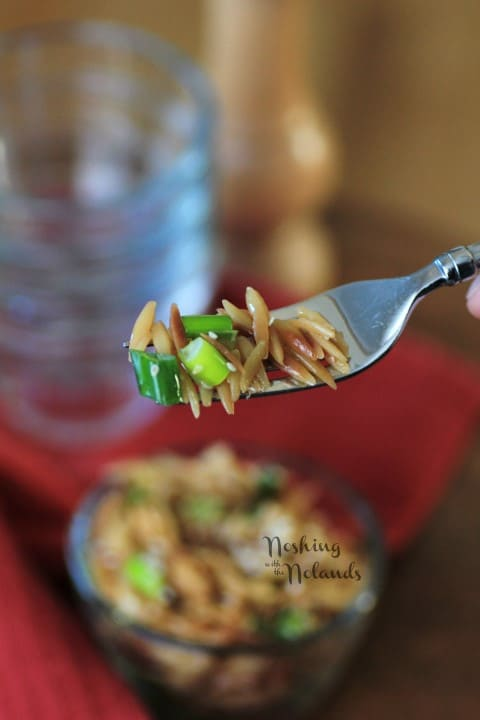 Sesame Orzo on a fork