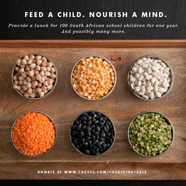 Feed a Child Nourish a Mind poster of various beans