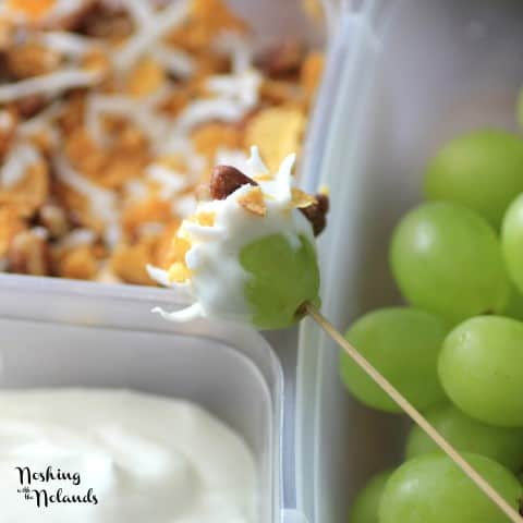 Skewered Grape dipped in yogurt and granola
