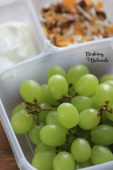 Grapes in a plastic lunch container