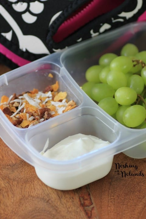 Skewered Grapes and granola in a plastic lunch container