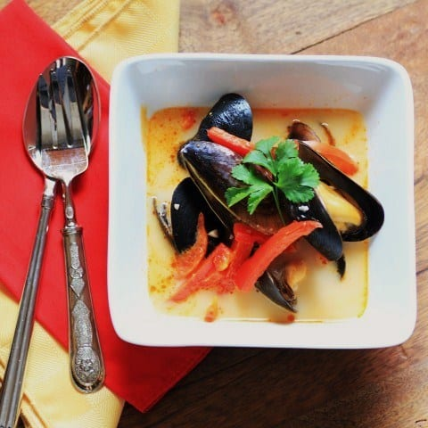 Thai Curry Coconut Mussel Soup by Noshing With The Nolands