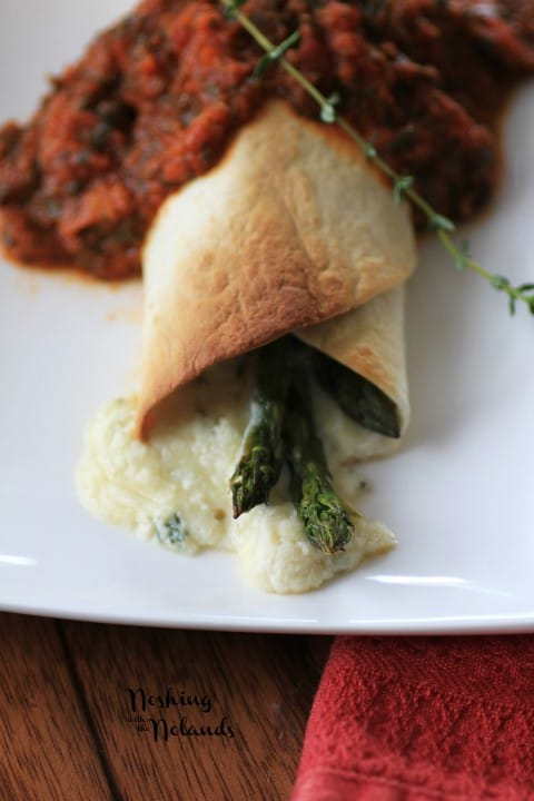 Asparagus Three-Cheese Burrito with Tomato Sauce by Noshing With The Nolands