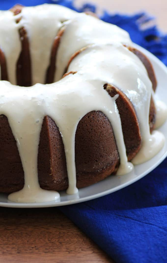 Cinnamon Roll Bundt Cake with Cream Cheese Frosting poured over