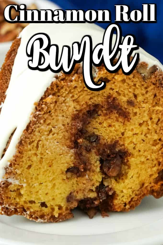 This Cinnamon Roll Bundt Cake is magical to make, to serve and to eat. It is perfect as a year round treat but also great for the holidays!! #cinnamonroll #bundtcake #bundt