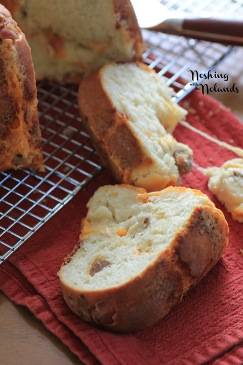 Cheesy Bacon Sausage Brioche Bundt by Noshing With The Nolands
