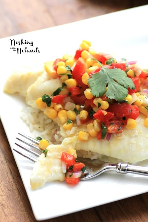 Fish Fillet with Corn and Red Pepper Salsa by Noshing With The Nolands
