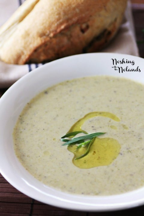 Roasted Asparagus Mushroom Brie Soup by Noshing With The Nolands