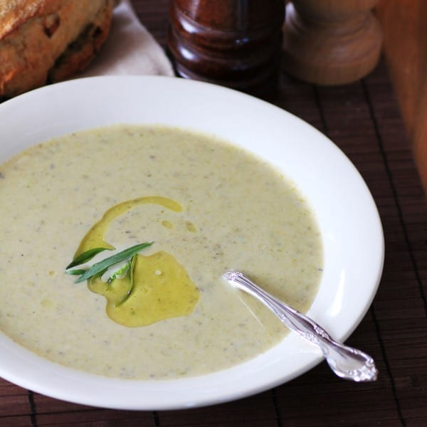 Roasted Asparagus Brie Soup for #CampbellsGlutenFree #Promo
