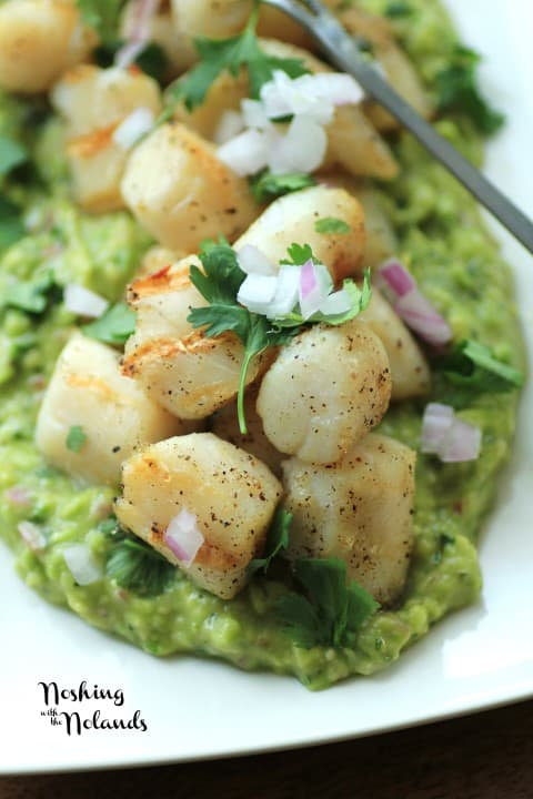 Grilled Wild Scallops with Avocado Puree by Noshing With The Nolands