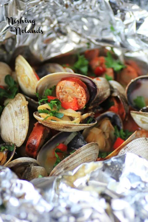 Grilled Clams with Chorizo by Noshing With The Nolands